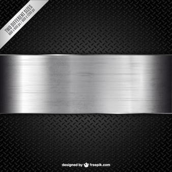 Banner metálica sobre fondo de textura negra
