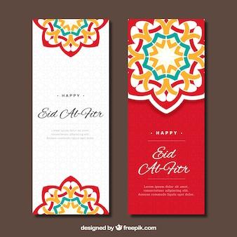 Banner rojo y blanco de eid al fitr