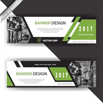 Banner verde y blanco