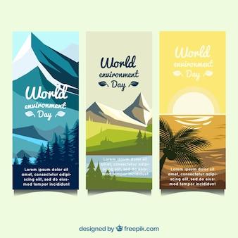 Banner vertical del día mundial del medioambiente con diferentes paisajes