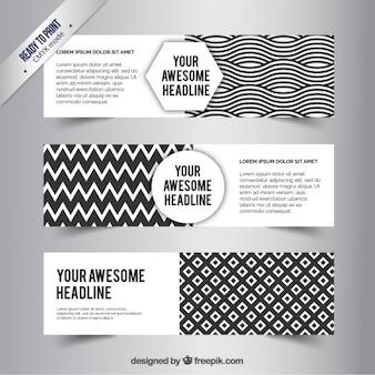 Banners abstractas blancas y negras