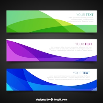 Banners abstractas en el estilo ondulado