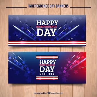 Banners abstractos americanos con fuegos artificiales