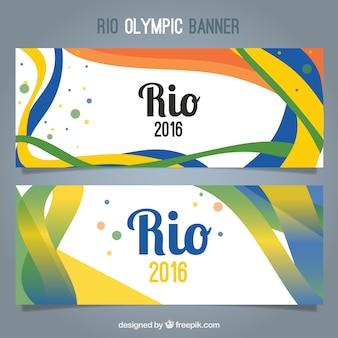 Banners abstractos con ondas de colores de los juegos olímpicos