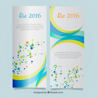 Banners abstractos con puntos de colores de río 2016