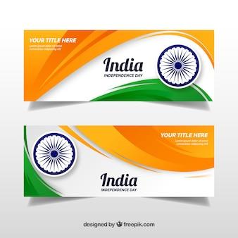 Banners abstractos de bandera para el día de la independencia de india