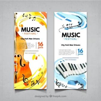 Banners abstractos de festival de música con violín y piano