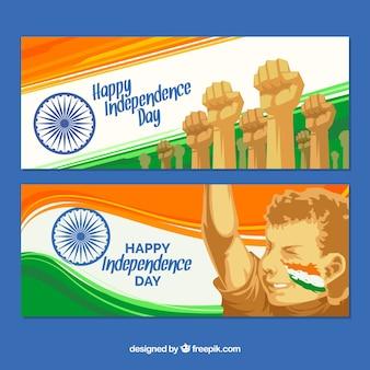 Banners abstractos de la lucha por la independencia de india