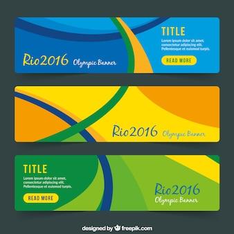 Banners abstractos de los juegos olímpicos