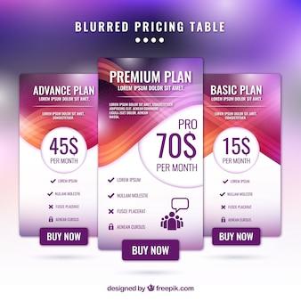 Banners abstractos de precio con efecto desenfocado