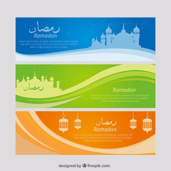 Banners abstractos de ramadan con ondas