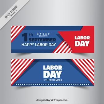Banners abstractos de rayas americanos del día del trabajo