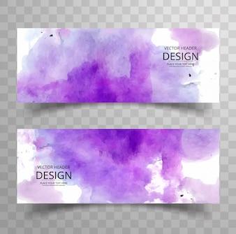 Banners abstractos morados de acuarela