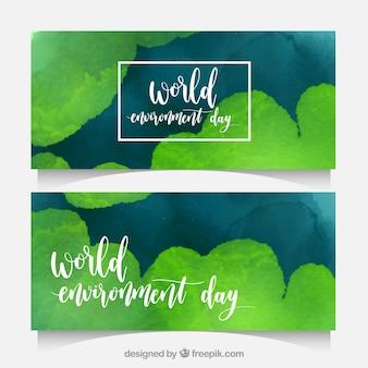 Banners abstractos para el día mundial del medioambiente