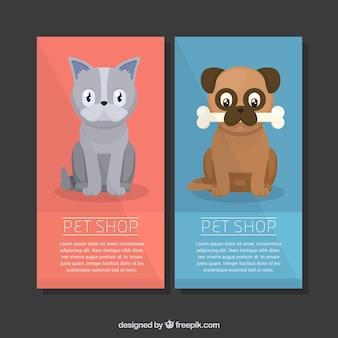 Banners adorables con animales planos