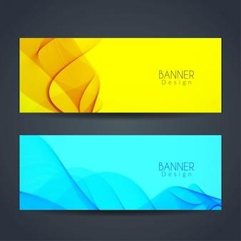 Banners amarillos y azules con formas onduladas