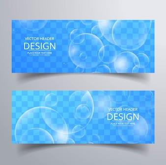Banners azules con burbujas