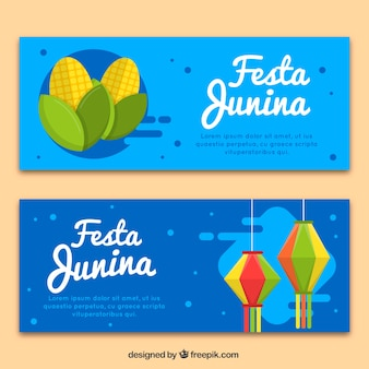 Banners azules de la fiesta junina