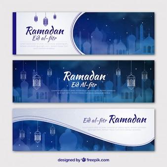 Banners azules de ramadan