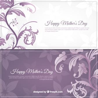 Banners blancos y morados de Feliz Día de la Madre