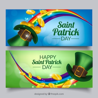 Banners bokeh con arco iris y sombrero para el día de san patricio