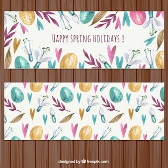 Banners bonitos de felices vacaciones primaverales pintadas a mano