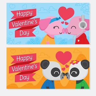 Banners bonitos de parejas besándose para el día de san valentín