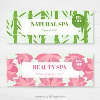 Banners bonitos de spa de naturaleza