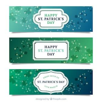 Banners bonitos de trévol del día de San Pactrick