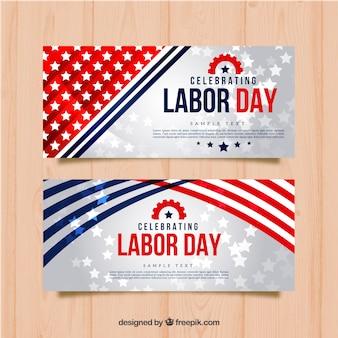 Banners brillantes de estrellas del día del trabajo
