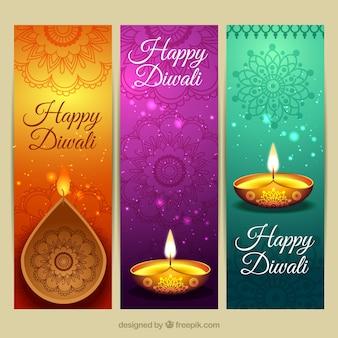 Banners coloridas de diwali con velas