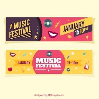 Banners coloridos con elementos musicales en diseño plano