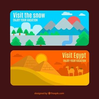 Banners coloridos de diferentes paisajes