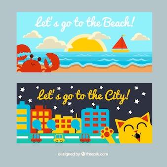 Banners coloridos de playa y ciudad