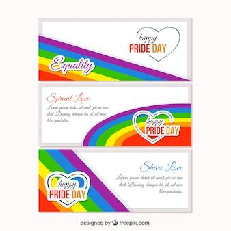 Banners coloridos del día del orgullo gay