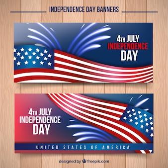 Banners con bandera americana