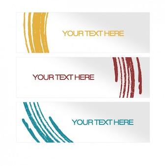Banners con curvas en estilo acuarela