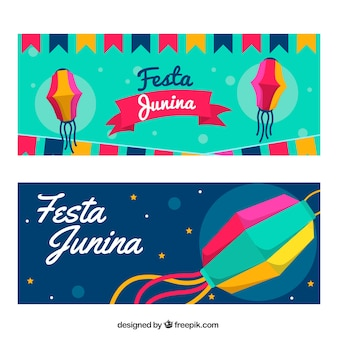 Banners con decoración tradicional de festa junina