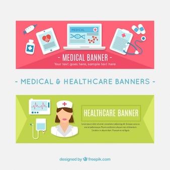 Banners con elementos médicos y enfermera