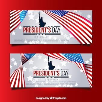 Banners con estatua de la libertad y bandera de estados unidos para el día del presidente