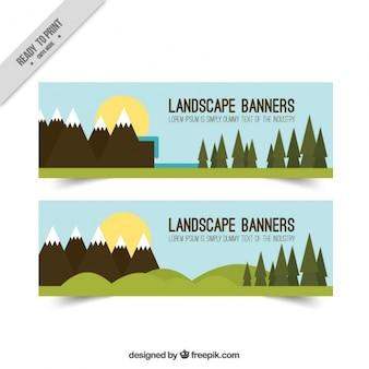 Banners con pinos y montañas