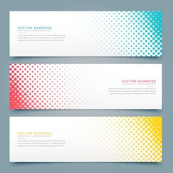 Banners con puntos de semitono, diferentes colores