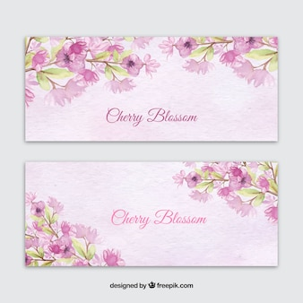 Banners de acuarela con flores