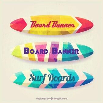Banners de acuarela con forma de tablas de surf