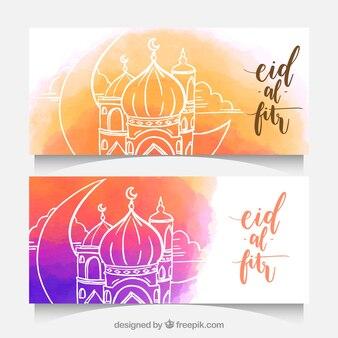 Banners de acuarela con mezquita dibujada a mano