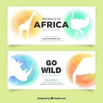 Banners de acuarela de animales africanos