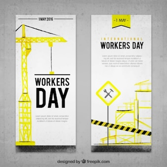 Banners de acuarela de construcción del día del trabajo
