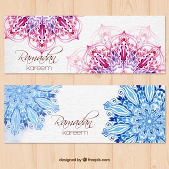 Banners de acuarela de feliz ramadan con mandalas