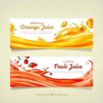 Banners de acuarela de zumos de fruta
