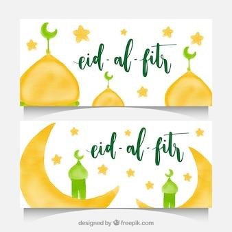 Banners de acuarela para eid-al fitr